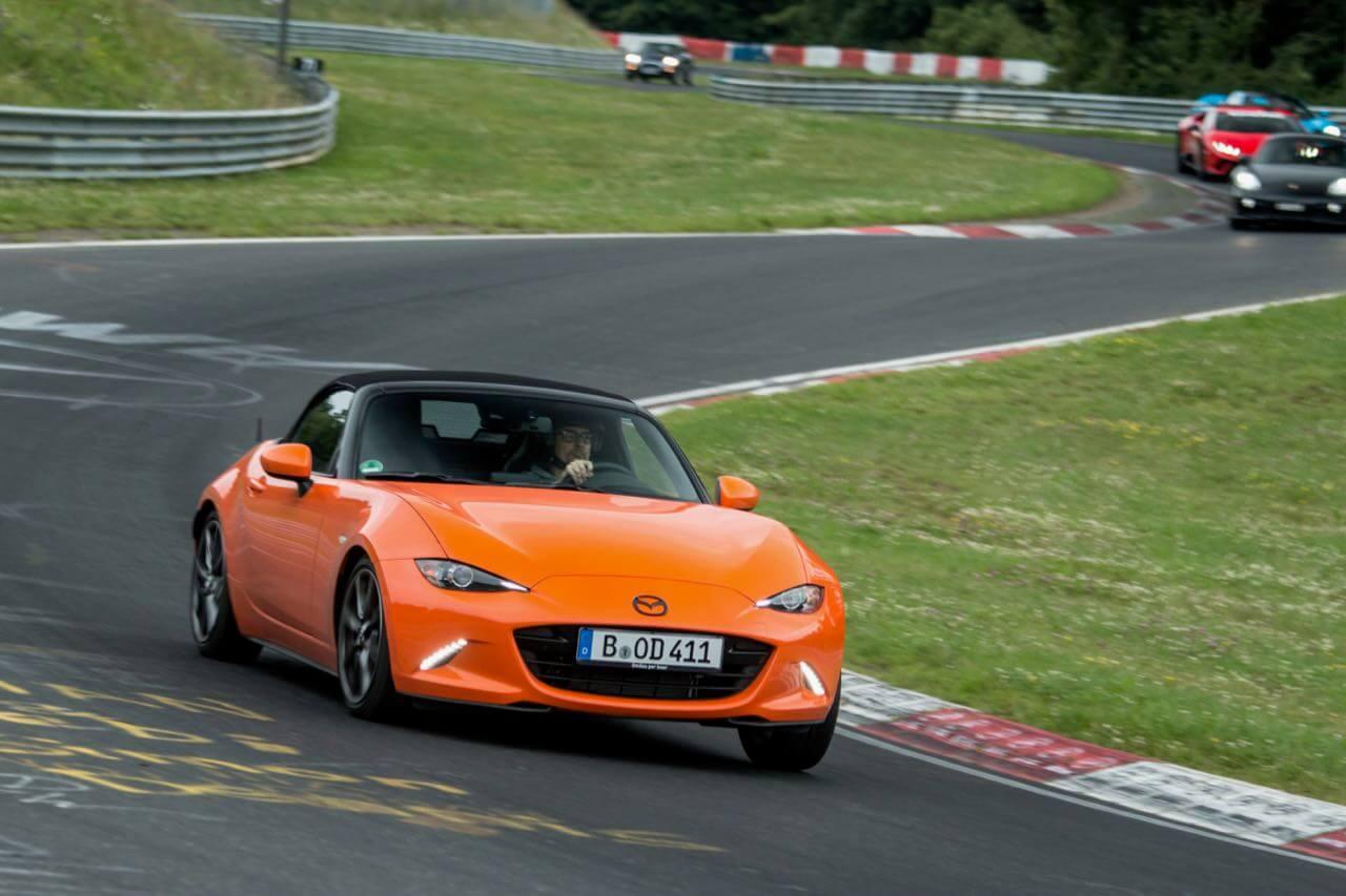 Just an orange MX-5 on the Nürburgring Nordschleife