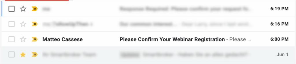 email list webinar confirmation